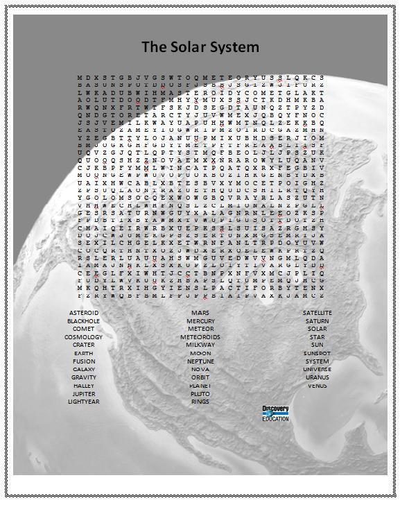 solar system word search - photo #12
