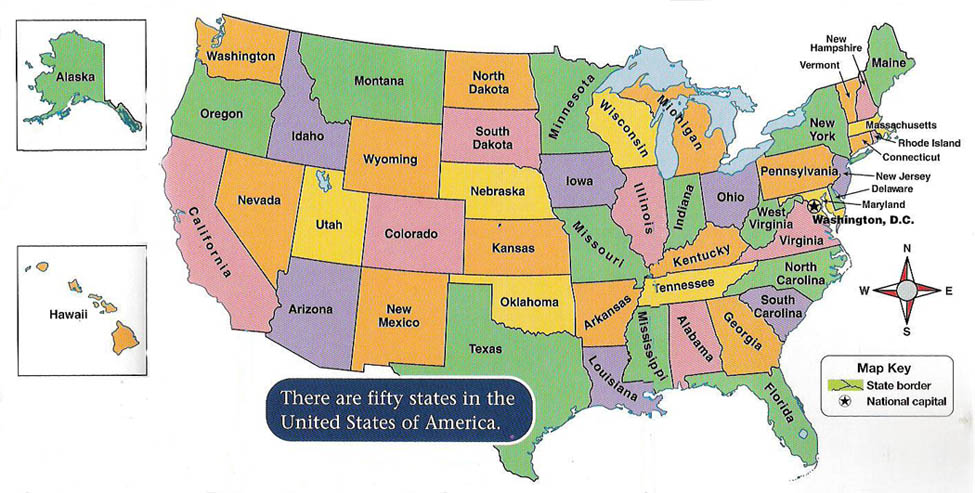 A Map Of The United States Of America.Directions